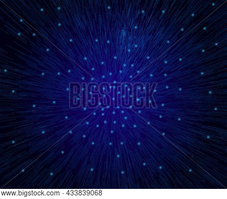 Background With Acceleration Effect With Glowing Lights. Vector Illustration
