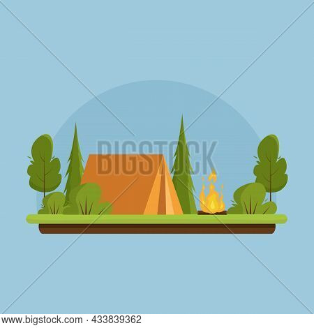 Camping. Day Landscape With A Orange Tent Near Bonfire. Banner For Summer Camp, Nature Tourism, Camp