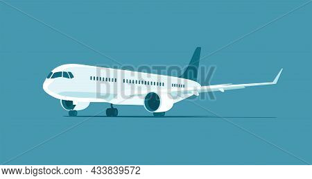 Contemporary Jet Airliner Isolated. Vector Flat Illustration.