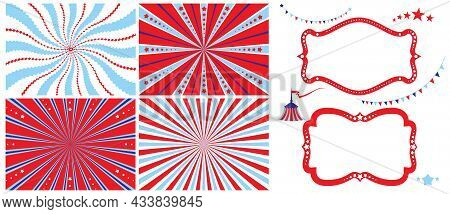 Circus Advertising Set. Poster Template And Design Elements With Tent For Circus, Fanfair, Carnival