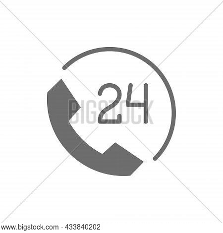 Round Clock Hotline, 24 Hours Service, Help Time Grey Icon.