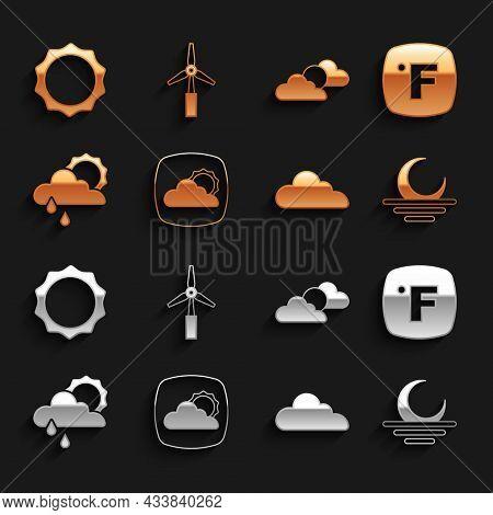 Set Weather Forecast, Fahrenheit, Sunset, Cloud, With Rain And Sun, Cloud Weather, And Wind Turbine