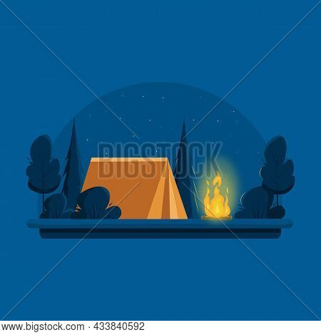 Camping. Night Landscape With A Orange Tent Near Bonfire. Banner For Summer Camp, Nature Tourism, Ca
