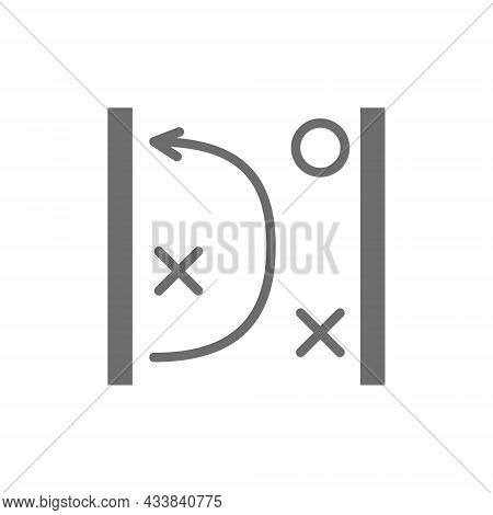 Vector Game Tactics Scheme Grey Icon. Isolated On White Background