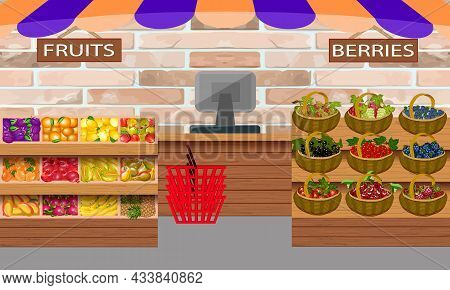 Showcases With Groceries In The Store.showcases With Fruits And Berries In The Shop Premises In Colo