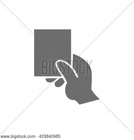 Vector Hand Showing Card Grey Icon. Isolated On White Background