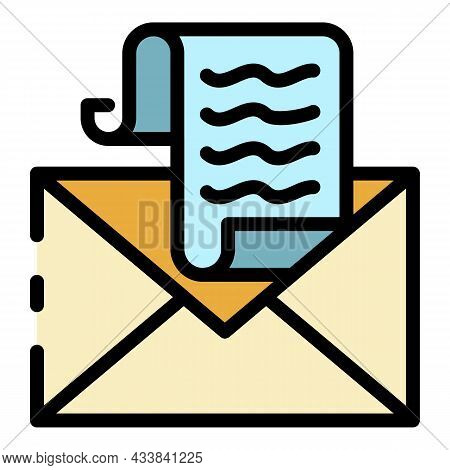 Tax Email Icon. Outline Tax Email Vector Icon Color Flat Isolated