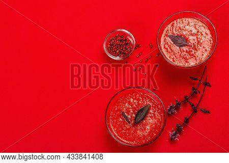 Homemade Tomato Soup. Healthy Veggie Food, Minimalistic Concept