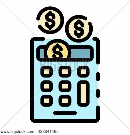 Money Coin Calculation Icon. Outline Money Coin Calculation Vector Icon Color Flat Isolated