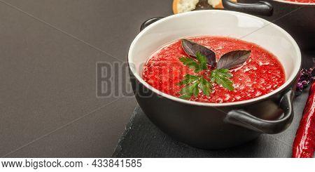 Spicy Autumn Tomato Soup. Healthy Hot Food, Garlic, Chili, Basil