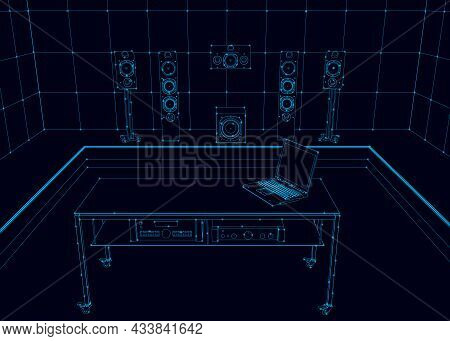 The Outline Of A Recording Room With Blue Lines On A Dark Background. Vector Illustration