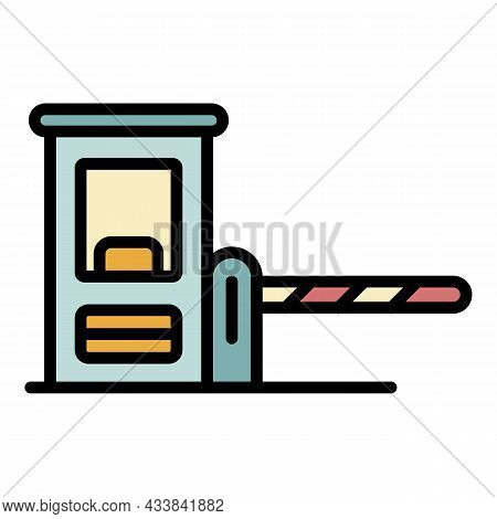 Parking Barrier Icon. Outline Parking Barrier Vector Icon Color Flat Isolated