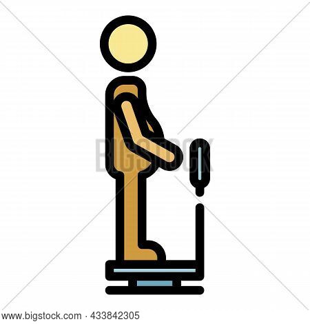 Man Fat On Scales Icon. Outline Man Fat On Scales Vector Icon Color Flat Isolated