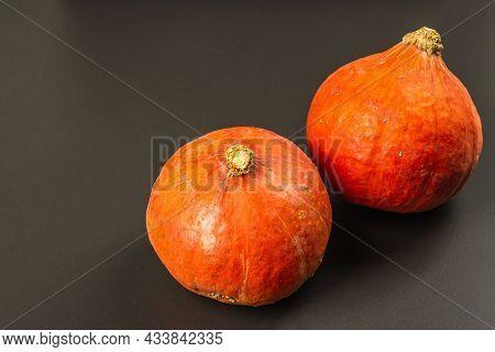 Hokkaido Pumpkins On Black Stone Background