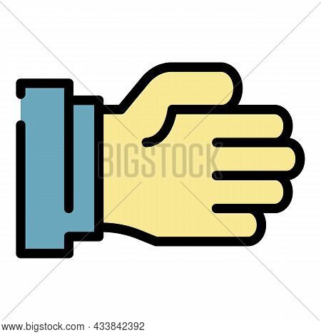 Fat Hand Icon. Outline Fat Hand Vector Icon Color Flat Isolated
