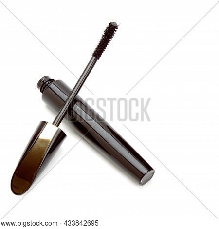 Mascara Isolated On White Background. Beauty Concept. Free Space For Text.