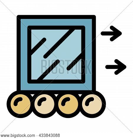 Moving A Cube Icon. Outline Moving A Cube Vector Icon Color Flat Isolated