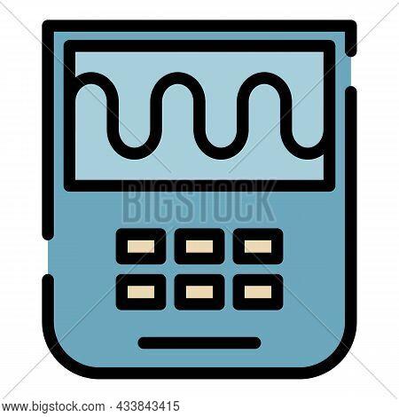 Scientific Oscilloscope Icon. Outline Scientific Oscilloscope Vector Icon Color Flat Isolated