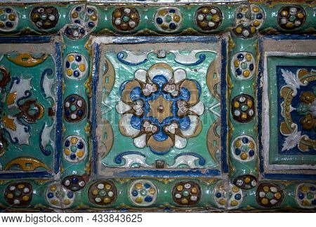 Background Texture Hand-painted Tile. Ceramics With Hand Painted Traditional Patterns. Multicolored