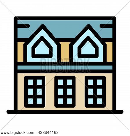 House With Attic Icon. Outline House With Attic Vector Icon Color Flat Isolated