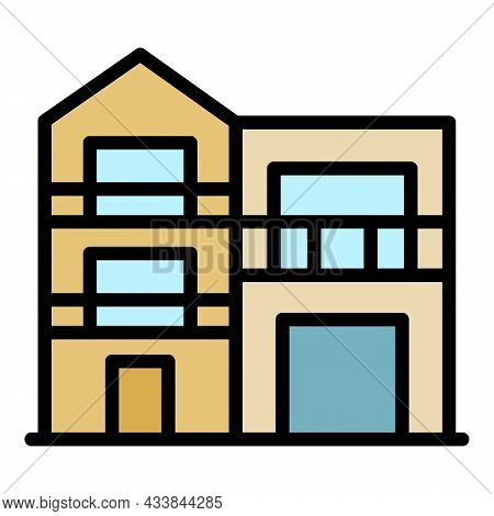 Modern Two Story House Icon. Outline Modern Two Story House Vector Icon Color Flat Isolated
