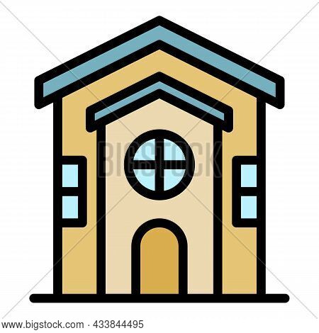 House View From The Front Icon. Outline House View From The Front Vector Icon Color Flat Isolated