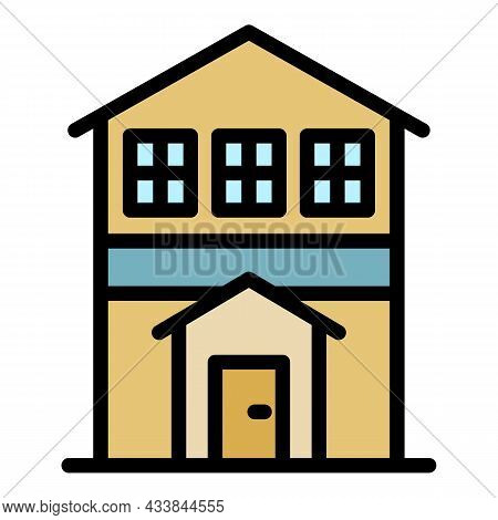 City House Front View Icon. Outline City House Front View Vector Icon Color Flat Isolated