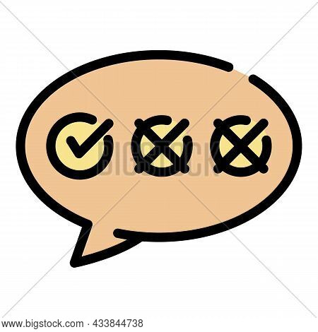 Chat Bubble With Checkboxes Icon. Outline Chat Chat Bubble With Checkboxes Vector Icon Color Flat Is