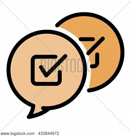 Checkbox In Chat Bubbles Icon. Outline Checkbox In Chat Bubbles Vector Icon Color Flat Isolated