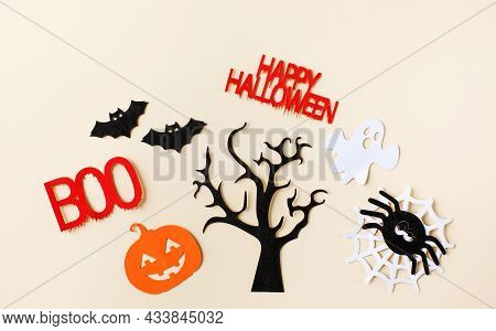 Spooky Festive Set With Haunted Tree And Words Of Bloody Letters For Halloween
