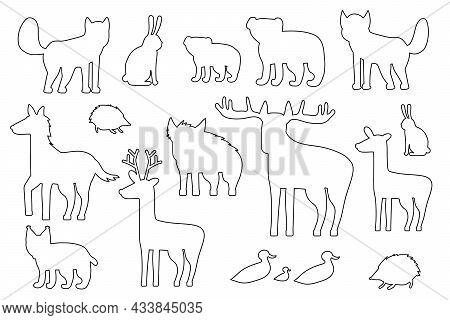 Set Of Black White Silhouette Forest Animals. Cartoon Isolated Vector Fox, Wolf, Bear, Bear Cub, Elk