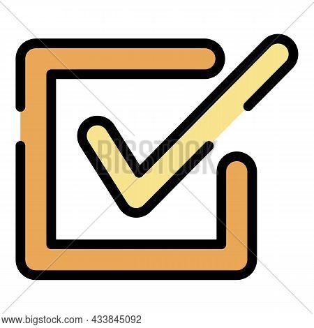 Checkbox Closeup Icon. Outline Checkbox Closeup Vector Icon Color Flat Isolated