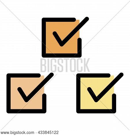 Three Checkboxes Icon. Outline Three Checkboxes Vector Icon Color Flat Isolated