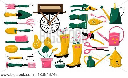 Gardening Equipment And Tools Collection.hand Drawn Set For Planting And Seedling.eco Hobby.illustra