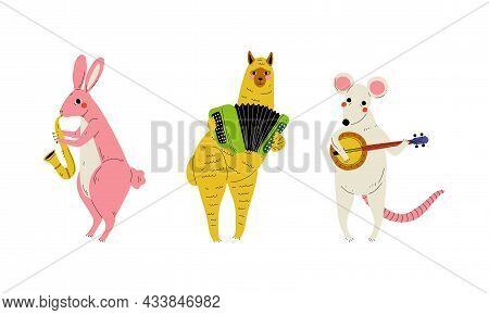 Funny Rabbit And Mouse Character Playing Lute And Saxophone Performing Concert Vector Set