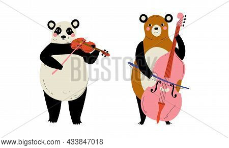 Funny Panda And Bear Character Playing Violin And Cello Performing Concert Vector Set