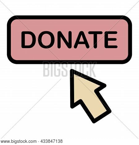 Donate Button Icon. Outline Donate Button Vector Icon Color Flat Isolated