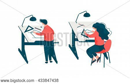Man And Woman Architect At Table Designing Project And Blueprint For Building Construction Vector Se