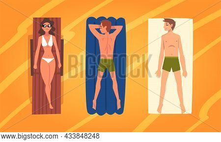 People Character Sunbathing Lying On Blanket At Sandy Beach Enjoying Hot Summer Vector Illustration
