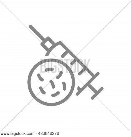 Medical Syringe And Bacteria Line Icon. Vaccination, Injection, Germs In Syringe, Viruses Symbol