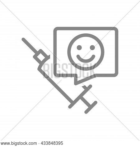 Medical Syringe And Happy Face In Speech Buble Line Icon. Vaccination, Vaccine Evaluation, Positive