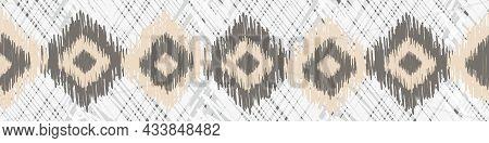Shibori Style Ikat Vector Seamless Vector Border Background. Neutral Banner Of Scribbled Diamond Sha