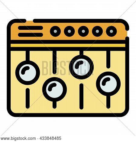 Retro Radio Icon. Outline Retro Radio Vector Icon Color Flat Isolated