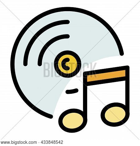 Cd And Note Icon. Outline Cd And Note Vector Icon Color Flat Isolated