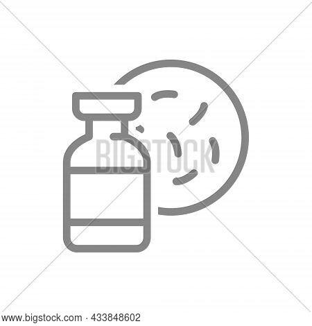 Medical Ampoule And Bacteria Line Icon. Vaccine, Serum, Vaccine Test, Antibodies, Viruses Symbol