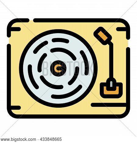 Vintage Vinyl Record Player Icon. Outline Vintage Vinyl Record Player Vector Icon Color Flat Isolate