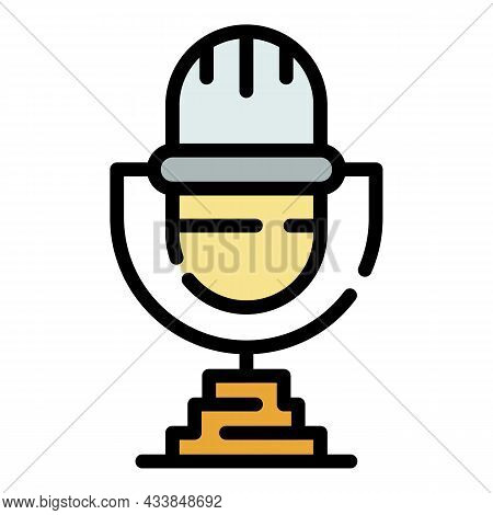 Retro Microphone Icon. Outline Retro Microphone Vector Icon Color Flat Isolated