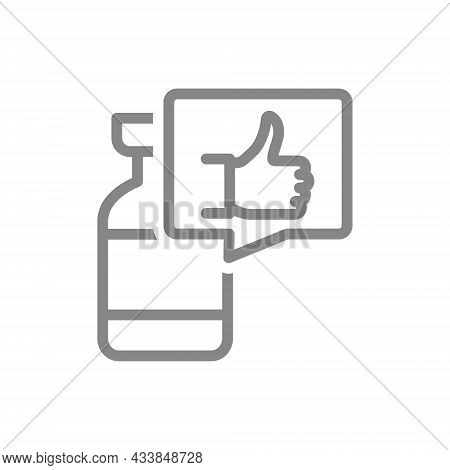 Medical Ampoule And Speech Bubble With Thumb Up Line Icon. Vaccine, Serum, Vaccination Information,