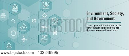 Environment And Social Government Icon Set And Web Header Banner With Esg Ideas