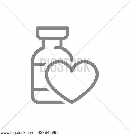 Medical Ampoule With Heart Line Icon. Vaccine, Serum, Vaccination Information, Immunization Symbol